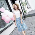 Set: Lace Top With Brooch + Printed Skirt