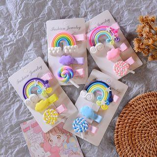 Set: Plastic Rainbow / Cloud / Lollipop Hair Clip
