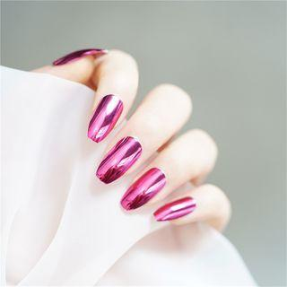 Metallic Faux Nail Tip 2 - Glue - Rose Pink - One Size