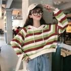 Long-sleeve Striped Hooded Sweatshirt