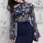 Floral Print Cut-out Chiffon Blouse / Mermaid Pencil Skirt