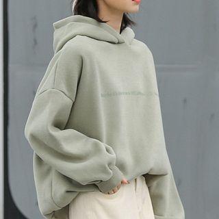 Plain Printed Fleece Long-sleeve Hooded Sweatshirt