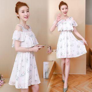 Cold Shoulder Floral Ruffled A-line Dress