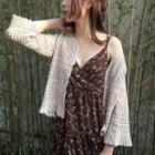 Open-front Short-sleeve Crochet Cardigan