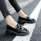 Patent Fringed Bow Loafers