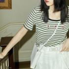 Short-sleeve Floral Embroidered Striped T-shirt