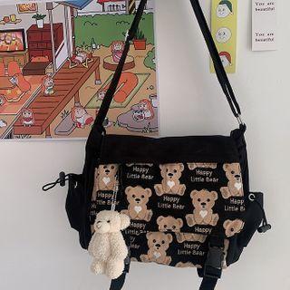 Buckled Bear Print Messenger Bag