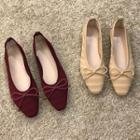 Bow-accent Perforated Knit Flats