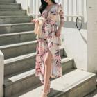 Leaf Print 3/4-sleeve Midi Dress