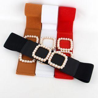 Faux Pearl Buckle Elastic Belt