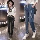 Striped Distressed Drawstring Jeans