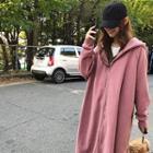 Raglan-sleeve Fleece-lined Long Zip Hoodie