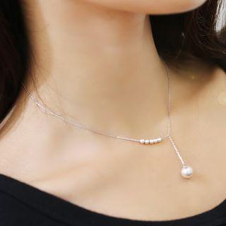 925 Sterling Silver Faux Pearl Pendant Choker White - One Size