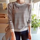 Button-shoulder Stripe Knit Top