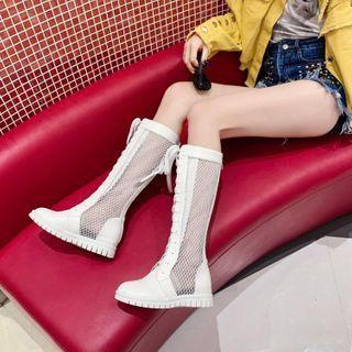 Lace Up Perforated Tall Boots