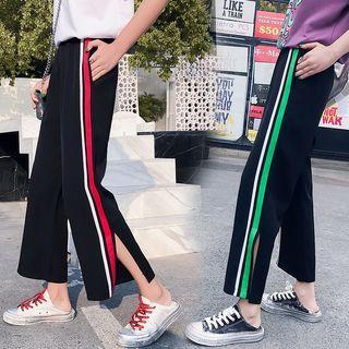 Striped Crop Straight-cut Pants