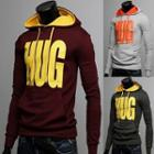 Two Tone Lettering Hooded Pullover