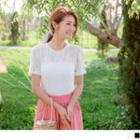 Round Neck Plain Short-sleeve Lace Top