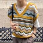 Zigzag Patterned Knit Vest Yellow - One Size