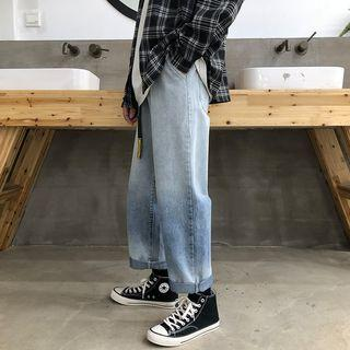 Lettering Ombre Straight-cut Jeans