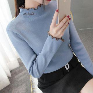 Mock Neck Frill Trim Letter Embroidered Knit Top