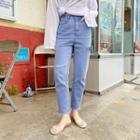 Slashed Colored Tapered Pants