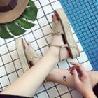 Scalloped-edge Faux-suede Woven Platform Sandals