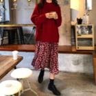 Floral Long-sleeve Midi Dress / Side Tie Sweater