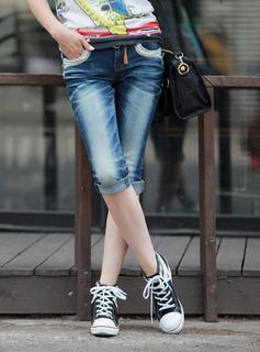 Washed Cropped Jeans