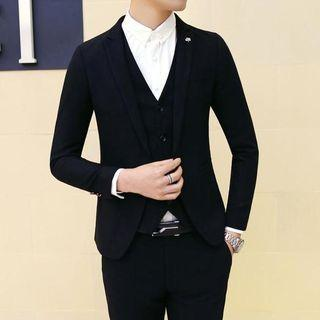 Set: Plain Blazer + Vest + Dress Pants