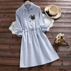 Cat Embroidered Striped A-line Shirtdress