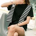 Plain T-shirt With Detachable Stripe Hood