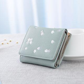 Embroidered Faux Leather Wallet