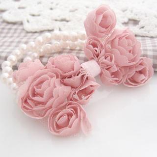 Pearl Chiffon Bow Bracelet -pink One Size