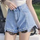 Embellished Lace Trim Denim Shorts