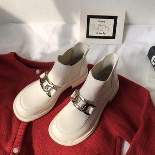 Chain Block Heel Short Chelsea Boots