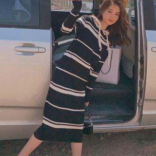 Striped Long-sleeve Hooded Knit Dress