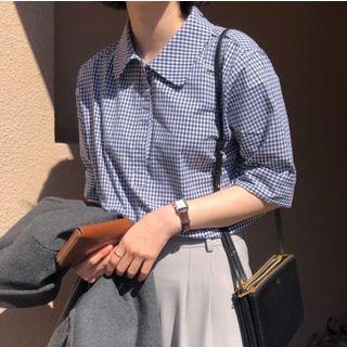 Gingham/ Plain Polo Shirt
