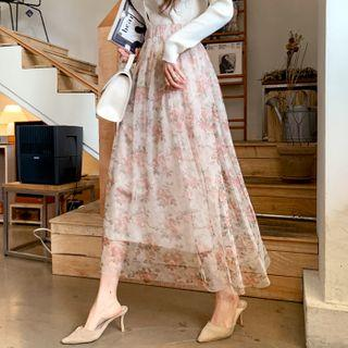 Flared Floral Long Tulle Skirt