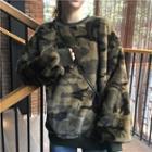 Camo Print Oversized Fleece Top