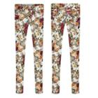 Floral Print Elastic Skinny Pants