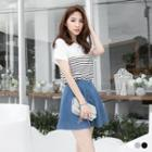 Short-sleeve Lace Striped Top