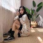 Hooded Stripe Knit Dress