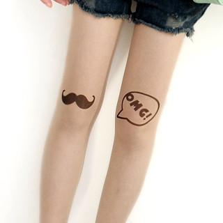 Mustache & Omg Print Tights Nude - One Size