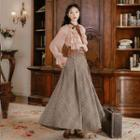 Ruffle Blouse / Plaid Maxi A-line Skirt / Set