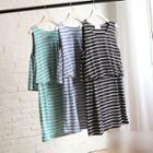 Striped Sleeveless Mock Two-piece Dress