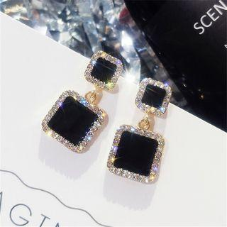 Rhinestone Square Dangle Earring 1 Pair - As Shown In Figure - One Size