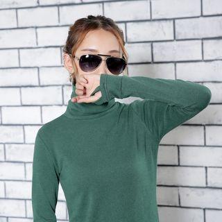 Thumb-hole Turtleneck Long-sleeved Dress