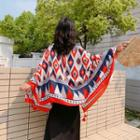 Tasseled Printed Shawl Tangerine Red & Blue - One Size