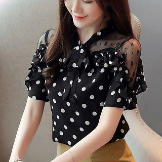 Lace-panel Dotted Short-sleeve Top